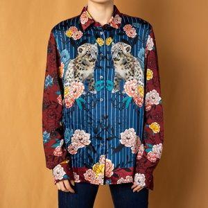 Paul & Joe floral leopard print silk blouse